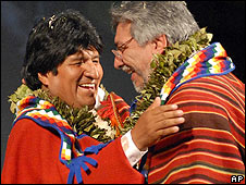 Evo Morales (left) and Paraguay's Fernando Lugo