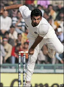 Zaheer Khan bowls