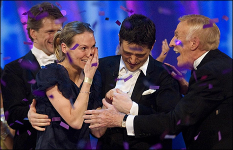 Tom Chambers with wife Clare, and host Bruce Forsyth