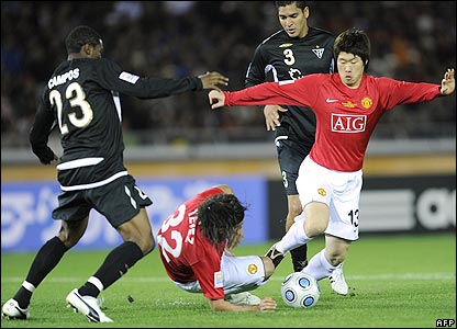 South Korean midfielder Ji-Sung Park looks to bring the ball forward