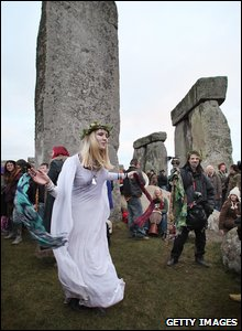 Girl at Stonehenge for Solstice