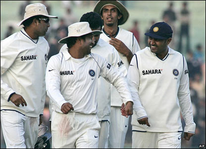 India's players leave the field at the end of play