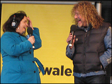 Ruth Jones and  Robert Plant in Barry