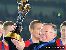 Man Utd boss Sir Alex Ferguson with the Club World Cup trophy