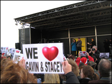 James Corden and Ruth Jones on the Radio Wales stage in Barry Island