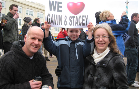 Gavin and Stacey fans Ian, Sian and Jack