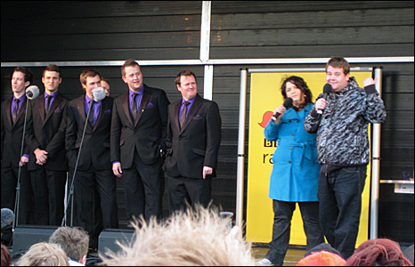 Members of Only Men Aloud, Ruth Jones and James Corden
