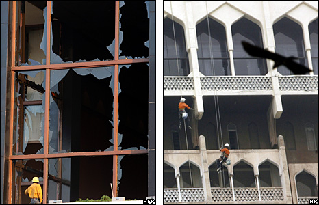 Broken window at the Trident Oberoi hotel (left); workers paint the walls of the Taj Mahal Palace hotel (right)