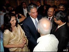 Ratan Tata greets guests at the Taj Mahal Palace hotel (21 December 2008)