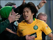 Kouki Mizuno celebrates his goal with the Celtic fans
