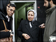 Shirin Ebadi (centre) outside the Human Rights Defenders Centre in Tehran (21 December 2008)