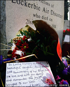 Flowers and card left by parents of a victim