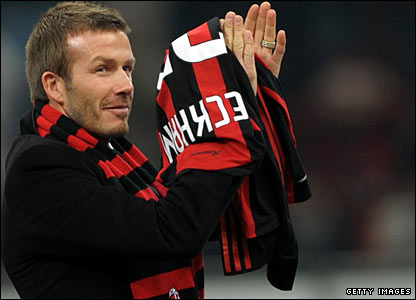 Beckham is introduced to the San Siro crowd ahead of Saturday's Serie A clash with Udinese