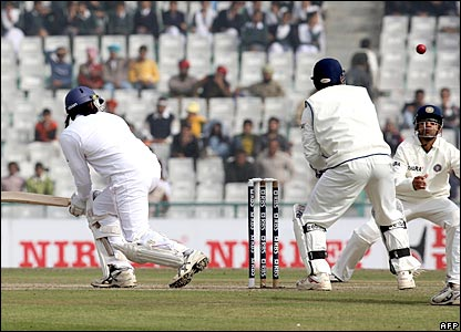 Monty Panesar is caught at short leg