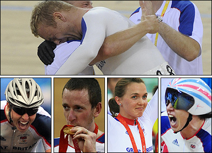 Chris Hoy (top), (l-r) Nicole Cooke, Bradley Wiggins, Victoria Pendleton and Rebecca Romero