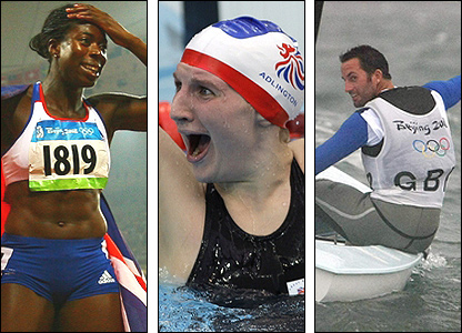 Christine Ohuruogu, Rebecca Adlington and Ben Ainslie