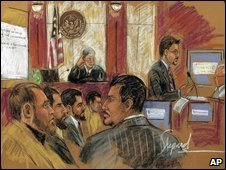 Artist's sketch of trial in Camden, New Jersey, 16 January 2008