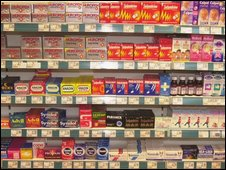 Drugs in a pharmacy