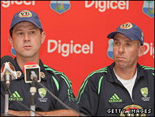 Australia captain Ricky Ponting (left) and coach Tim Nielsen (right)