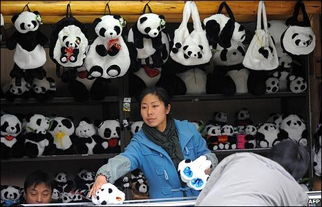 Shop selling panda themed gifts at the panda breeding centre in Sichuan province (22/12/2008)