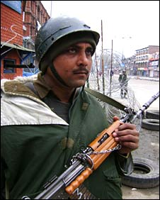 Security force member in Indian administered Kashmir