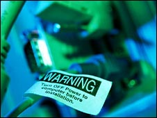 Cables with a warning tag