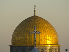 Church spire in Jerusalem's Old City, with Dome of the Rock behind (file)