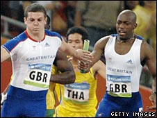 Craig Pickering (left) and Marlon Devonish in action for the Great Britain 4x100m relay team