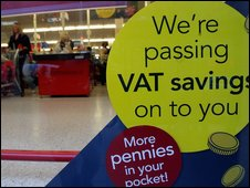 Supermarket sign advertising VAT cuts