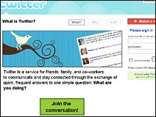 Screenshot of Twitter website