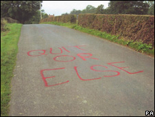 Graffiti on road