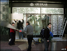 Protection is fitted to the front of the Attica department store