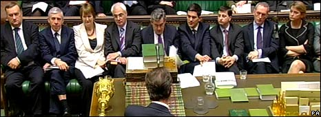 David Cameron faces Gordon Brown and his front bench team in the House of Commons