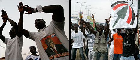 Left: NPP supporters, Right: NDC supporters
