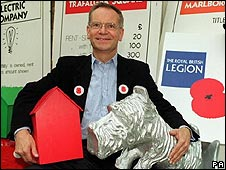 Jeffrey Archer with Monopoly pieces