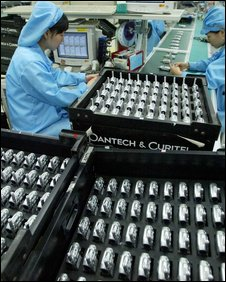 Handsets production line, AFP/Getty
