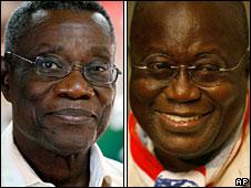 John Atta Mills (left), Nana Akufo-Addo (right)