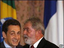 French President Nicolas Sarkozy and Brazilian President Luiz Inacio Lula da Silva in Rio de Janeiro, 23 December 2008