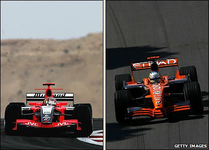 Tiago Monteiro in action for Midland (left) and Adrian Sutil driving for Spyker
