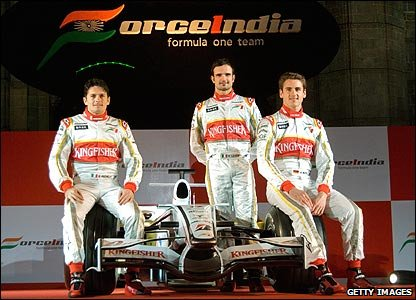 Force India drivers Giancarlo Fisichella, Vitantonio Liuzzi and Adrian Sutil