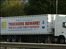 Lorry with sign