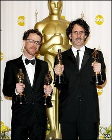 Ethan and Joel Coen with their 2008 Oscars for No Country For Old Men