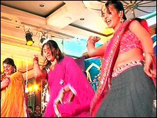 Dancers at an Indian wedding