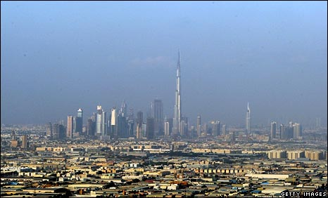 Dubai skyline, with Burj at center
