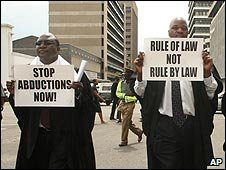Lawyers for Human Rights march in protest at abductions in Harare, Zimbabwe (10/12/2008)