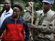 Jestina Mukoko (left) arriving at the magistrate's court in Harare on Wednesday 24 December 2008