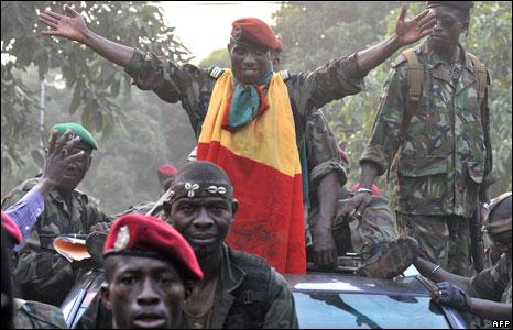 Captain Moussa Dadis Camara parades Guinea's capital, Conakry, 24 December 2008