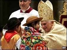 Children being blessed by Pope Benedict during Midnight Mass at St Peter's Basilica, Vatican