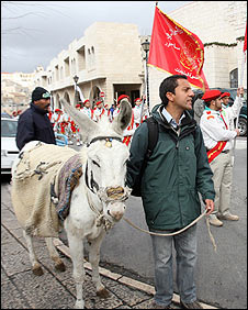 Aleem Maqbool and his donkey in Bethlehem