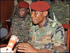 Guinea's coup leader Capt Moussa Dadis Camara (right)